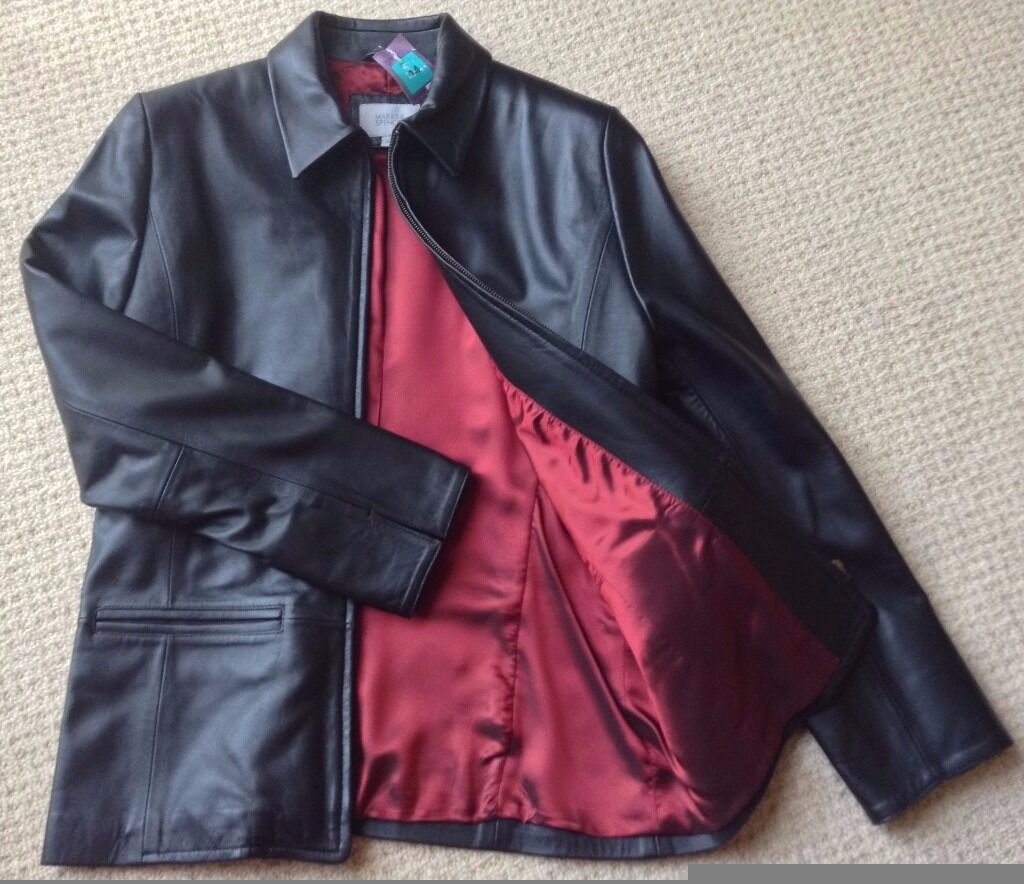Womens Black Leather Jacket Size 14 BNWTin Cheltenham, GloucestershireGumtree - Black Leather Jacket. 100% Genuine Leather. Size 14. Zip Fastening. Lined. NEW with Tags. Item comes from a smoke & pet free home. If you email me with any questions please check your spam folder for a reply
