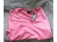 genuine Ralph Lauren Pima Cotton, never worn before, V neck jumper. Medium.