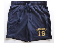 "GENUINE ABERCROMBIE & FITCH MENS A&F NAVY BLUE SHORTS 2 POCKETS , PULL TIES , SIZE SMALL 30-32"" £10"