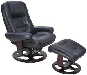 Barcalounger Jacque II Leather Recliner & Ottoman - black NEW ** 5 CORNERS FURNITURE **
