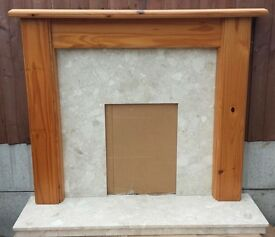 """51"""" Pine Mantle c/w Botticino Marble Back and Hearth"""