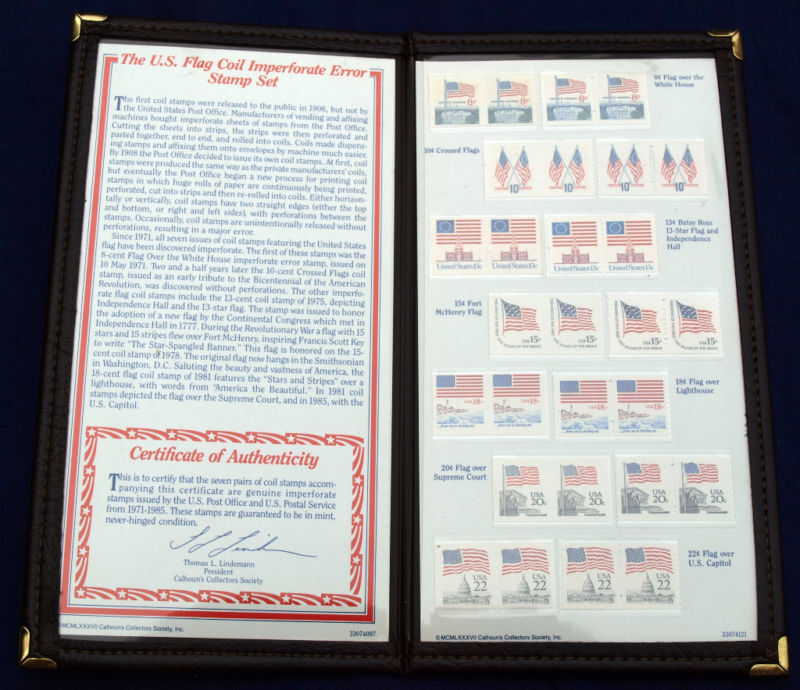 Us Flag Coil Imperforate Error Stamp Set Pa7