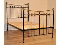 """Attractive Antique Victorian 48"""" Brass & Cast Iron Bed Ends With Slatted Base"""