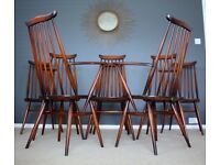 8 Ercol Vintage Dining Chairs Retro