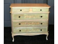CHEST OF THREE DRAWERS – LIGHT GREEN / BEIGE WITH A FLORAL DESIGN ON THE DRAWERS