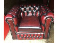 Chesterfield British made by craftsmen 3 piece suite leather.