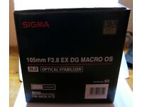 Sigma 105mm F2.8 EX DG OS HSM Macro Lens for Nikon DSLR Camera Brand New Unused