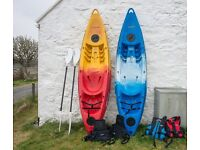 2 X Feel Free Sit on Kayaks with paddles, seats and buoyancy aids