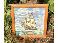Vintage tapestry picture HMS Victory