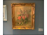 Pretty Vintage Oil on Canvas Painting Still Life 'Flowers in a Glass Goblet' Signed C. Hill