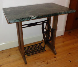 DESK - SEWING TABLE - MARBLE TOP, VINTAGE TREADLE BASE