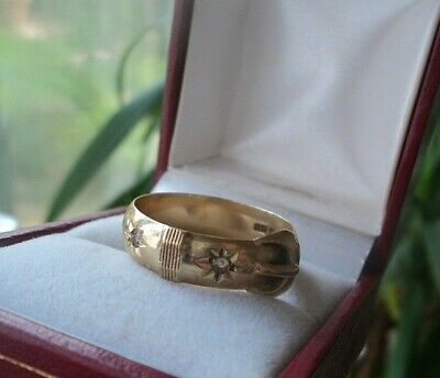 Attractive 9ct Yellow Gold & Diamond Buckle Ring h/m 1977 London  -  size T / U