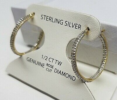 1/2CT GENUINE DIAMOND HOOP EARRINGS 18K GOLD 925 STERLING SILVER <NEW> $200 SALE