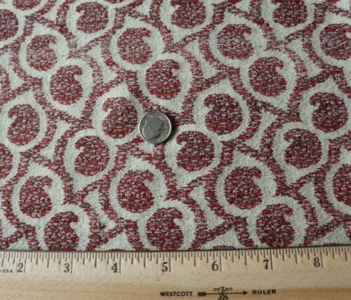 "Antique c1840-1916 Kashmir Wool Paisley Fabric~L-12"" X W-19""~Dolls"