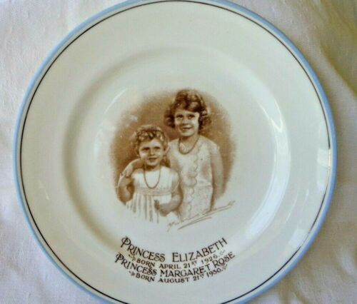 "Vintage Paragon China Plate Princess Elizabeth & Margaret Rose, 6 1/4"" - Rare!"