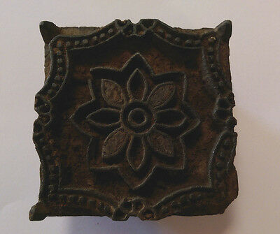 Wooden Square Shaped Textile Stamping Block With Flower Design