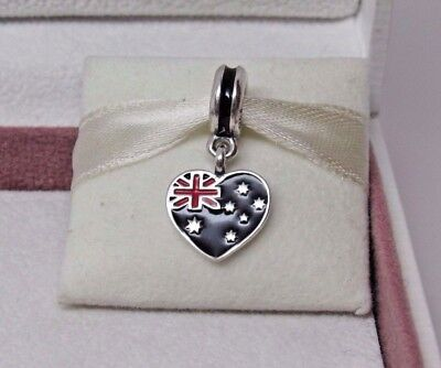 New w/Box & Tags Pandora Australia Flag Heart Enamel Dangle Charm 791415ENMX (Heart Flag Enamel Charm)