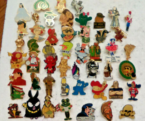 50 Mixed Character Lapel Pins Comic Cartoon Advertising pin lot