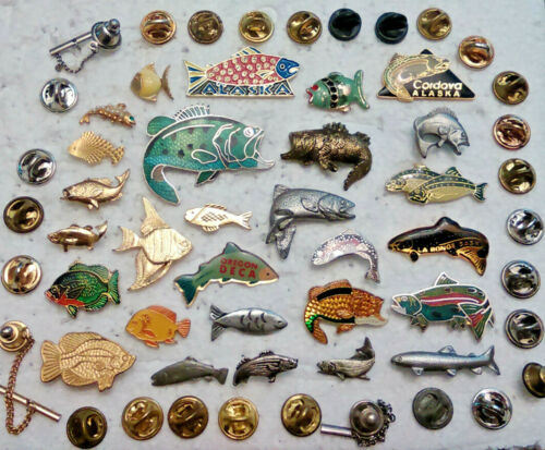 28 Fish Lapel Pins Brooch Tie Tack pin lot Bass Trout Salmon