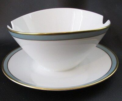 Rosenthal Gala Blue Gravy Boat With Attached Underplate Gold Trim
