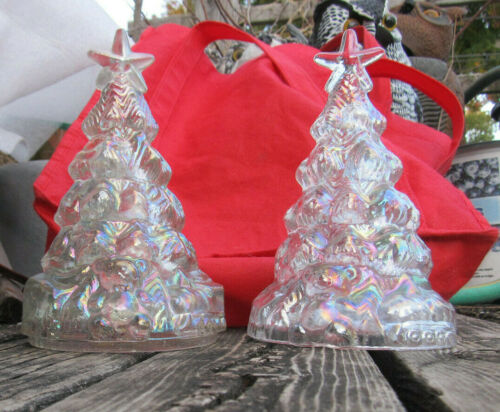 Clear Reflective Carnival Glass Christmas Tree Figurine w/ Star & Teddy Bear
