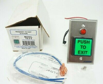 Alarm Controls Ts-2-2 Illuminated 2 Sq. Request To Exit Button