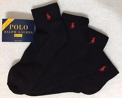 Polo Ralph Lauren Athletic 4-Pair  Quarter Crew  Socks  Black    (1816)
