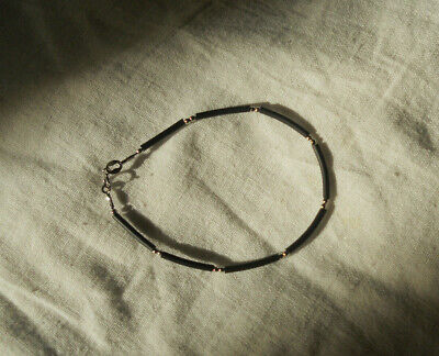 Italian 18K 750 White Gold Black Rubber Bracelet Bangle