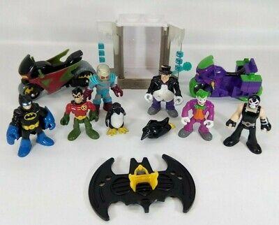 Imaginext Batman Bane Penguin Joker Robin Freeze chamber motorcycles lot figures