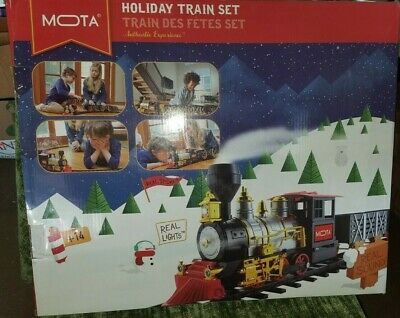 Mota Classic Train Holiday Christmas Train Set With Real Smoke Authentic Light