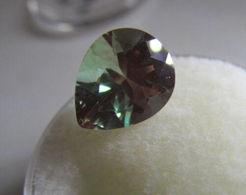 FABULOUS RARE 2.13 CTS 11 X 9 PEAR GREEN ANDESINE/LABRADORITE w/ RED FLASH