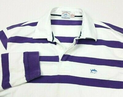Southern Tide Nautical Purple White Stripe Long Sleeve Rugby Polo FITS MEDIUM