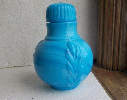 1880s BLUE OPAL MILKGLASS FOOD BOTTLE WITH ORIGINAL LID EMB FERN PATTERN