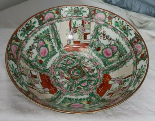 "OVER-SIZED LARGE HAND PAINTED CHINESE 16"" FAMILLE ROSE BOWL"