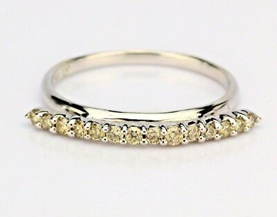 Vintage 14K White Gold Champagne Diamond Wedding Band Anniversary Ring (Champagne Diamond Anniversary Ring)