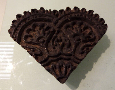 Vintage Wooden Heart shaped Textile Stamping Block With Floral Design