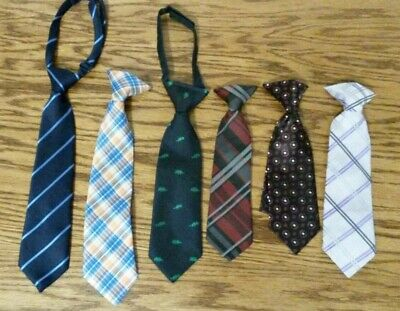 Lot of 6 toddler boys neckties ties clip on striped The Childrens Place blue