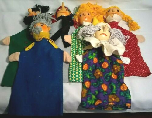 Vintage Sonneberger Hand Made German Hand Puppets Lot Of 6