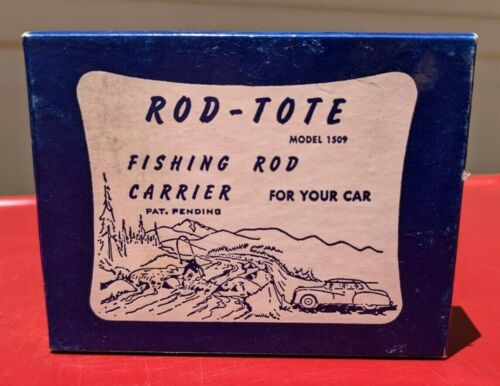 Vintage ROD-TOTE Car Top Fishing Rod Carrier w/ Box - Model 1509 Complete