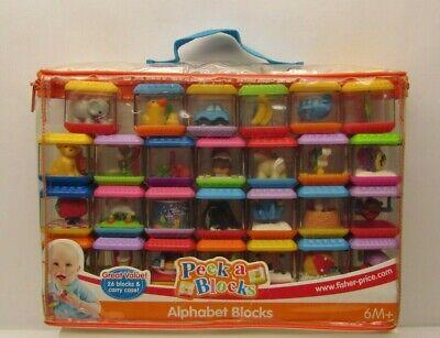 27 Pc Fisher Price Alphabet Peek a Blocks A-Z +1 Infant Baby Original Case Clear