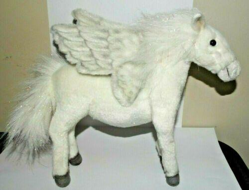 NWT Hansa Life Like Handmade Stuffed Animal Plush White Pegasus Standing Sparkle
