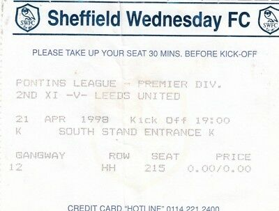 Ticket - Sheffield Wednesday Reserves v Leeds United Reserves 21.04.98