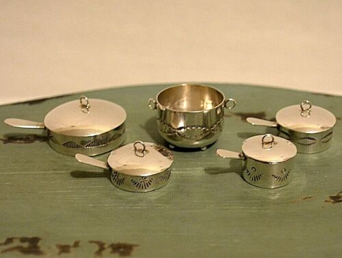 Miniature Sterling Silver Cookware Set Dollhouse 1:12 Artist Elizabeth Whitman
