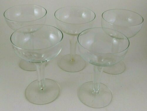 Vintage Hollow Stem Champagne Cocktail Glasses ~ Set of 5
