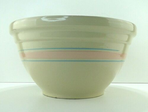 "Vintage 14"" McCoy Mixing Bowl, Pink & Blue Stripes Dough Bowl Free Shipping"