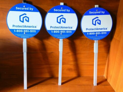 3x Security Yard Signs w/ Aluminum Post ProtectAmerica Branded (Brand New)