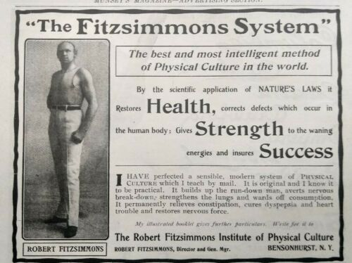 1902 Robert Fitzsimmons Strongman Photo Bensonhurst Bodybuilding Vtg Print Ad