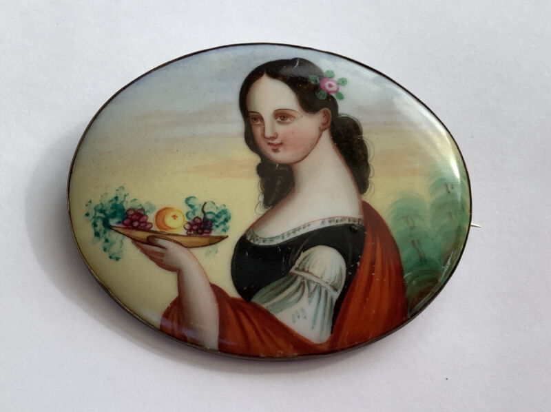 Beautiful Continental Hand Painted Porcelain Antique Brooch Portrait Lady