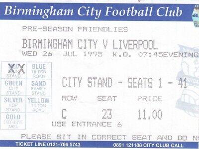 Ticket - Birmingham City v Liverpool 26.07.95 Friendly