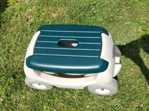 Step 2 Garden Hopper Rolling Yard Cart Seat/Tool Storage Green/Tan